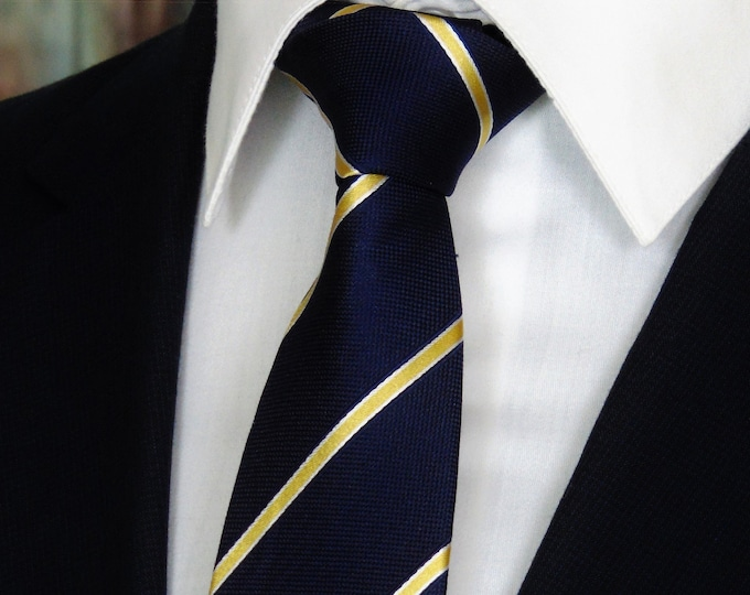 Navy Tie – Mens Blue with Gold Stripe Silk Necktie