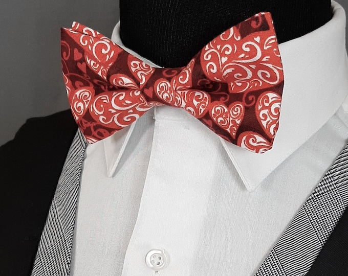 Valentines Bow Tie – Mens Burgundy with Hearts Valentines Day Bow Tie.