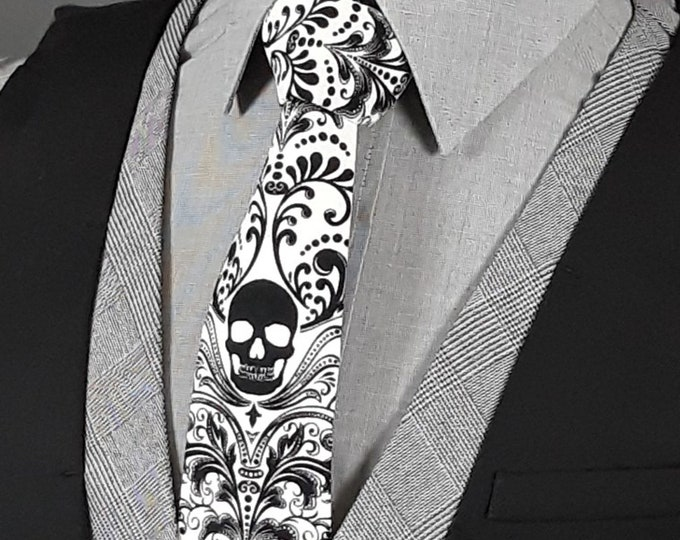 Skull Tie, Skull Necktie, Gothic Wedding
