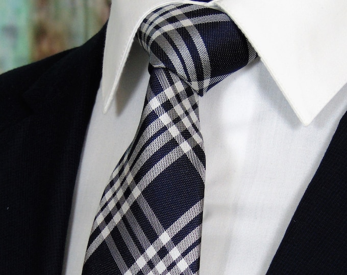 Navy Ties – Mens Midnight Blue Plaid Necktie