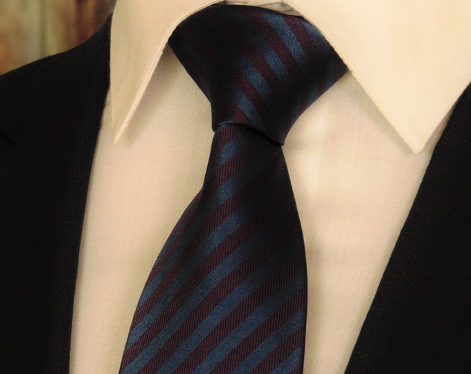 Burgundy and Navy Tie – Mens Burgundy and Navy Stripe Necktie