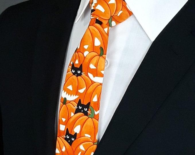 Mens Hallloween Ties – Orange Necktie with Pumpkin and Cat Motif, Also Available as a Skinny Neck Tie