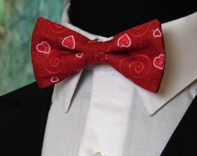 Valentines Bowtie – Mens or Boys Valentines Day Hearts Bow Tie, Alos Available as a Extra long Bow Tie.