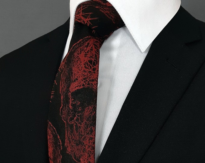 Red and Black Skull Tie – Black with Red skull Gothic Necktie