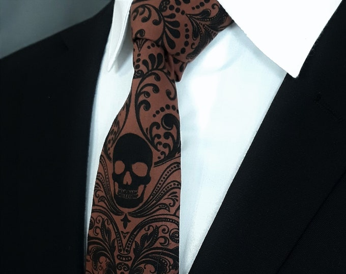 Gothic Wedding Necktie – Skull Tie for Goth Wedding