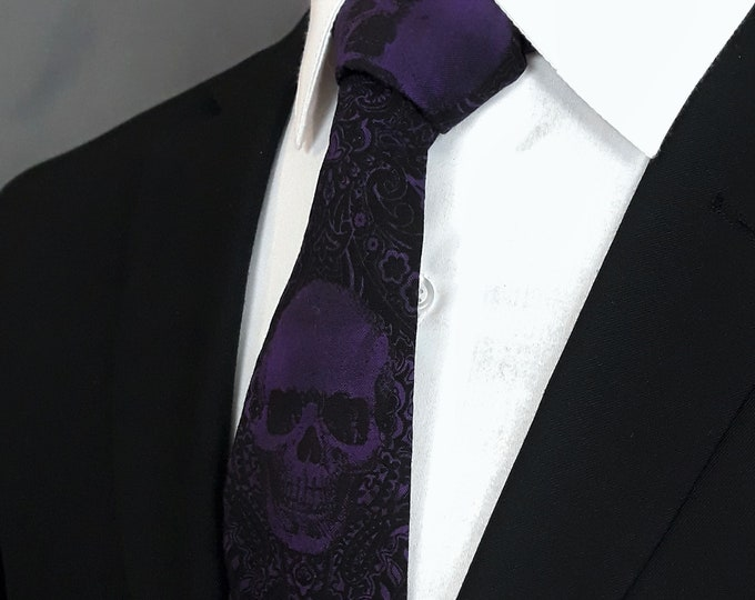 Purple Gothic Wedding Ties– Skull, Pocket Square not Included