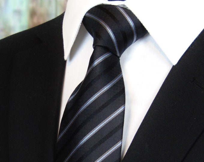 Striped Neckties – Mens Black with Silk Striped Ties