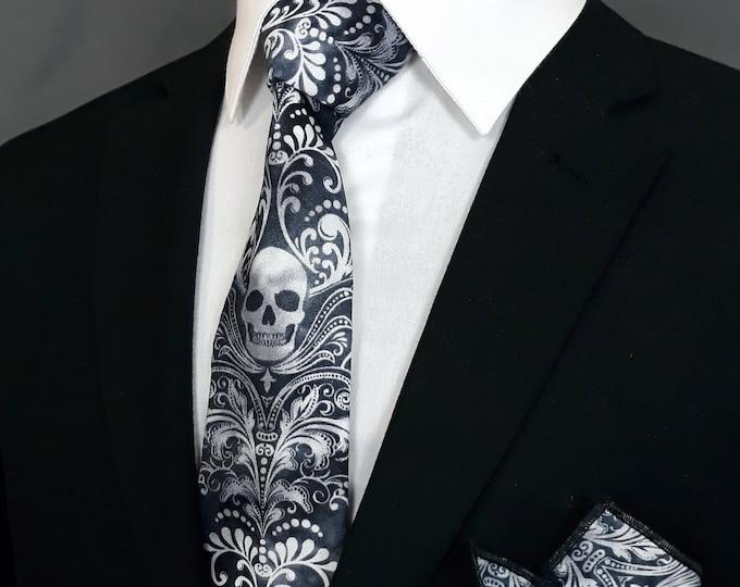 Skull Necktie – Skull Tie, Please read item description, Skull necktie only, pocket square not included!