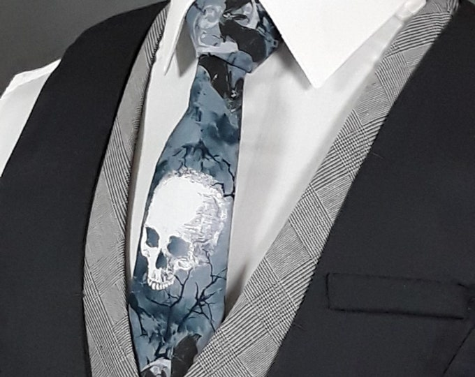 Goth Wedding Ties, Gothic Skull Necktie, Fathers Day Gift