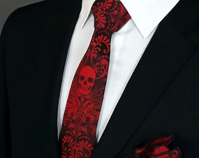 Skull Neck Tie Only – Red and Black Skull Ties, Please read item description.. Pocket Square not included!