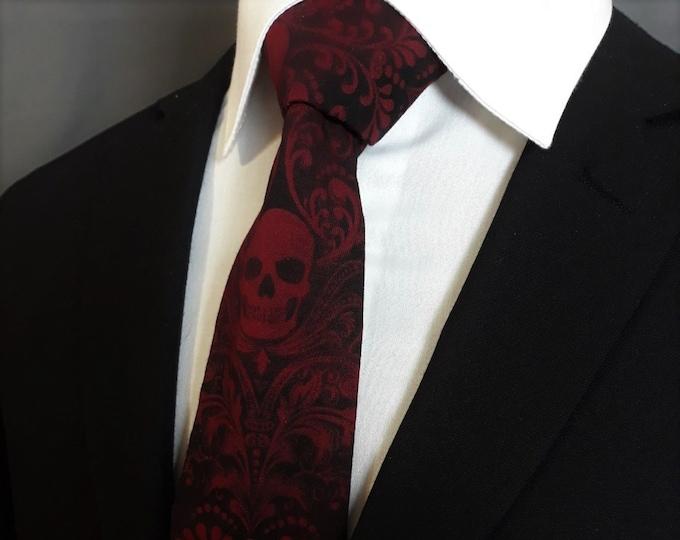 Skull Neck Tie – Red and Black Skull Ties, Please read item description.. Pocket Square not included!