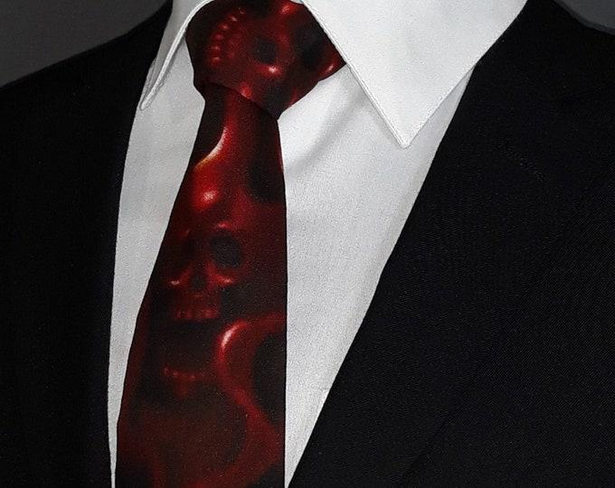 Flaming Skull Tie – Red Skull Neck Tie