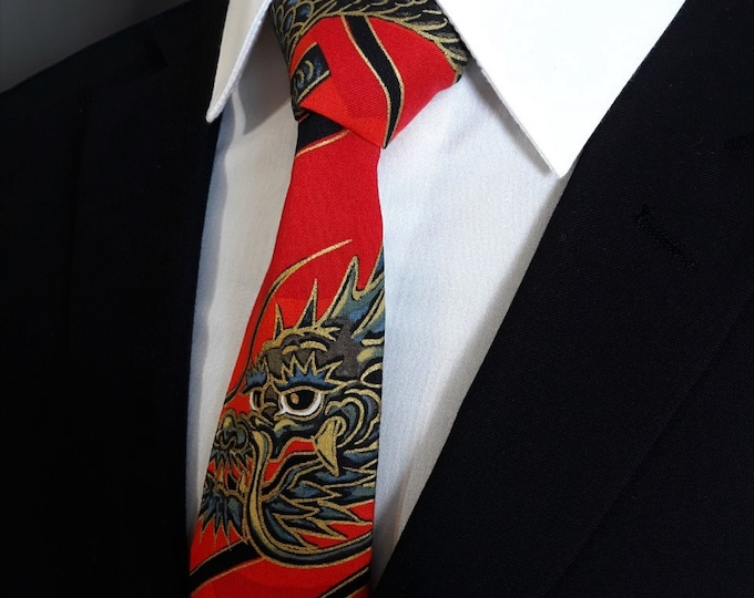 Ties with Dragons – Dragon Tie, Mens Japanese Style Red Dragon Necktie
