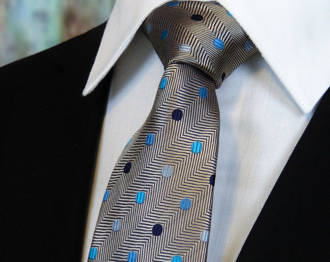 Silver Necktie – Mens Silver Tie with Multy Colored Dots