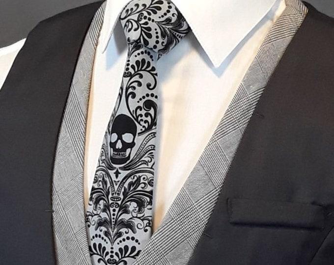 Gray Skull Tie, Gray Skull Necktie, Mens Goth Ties