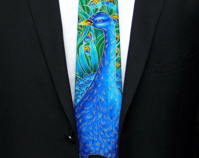 Peacock Tie – Peacock Wedding, Mens Peafowl Tie.