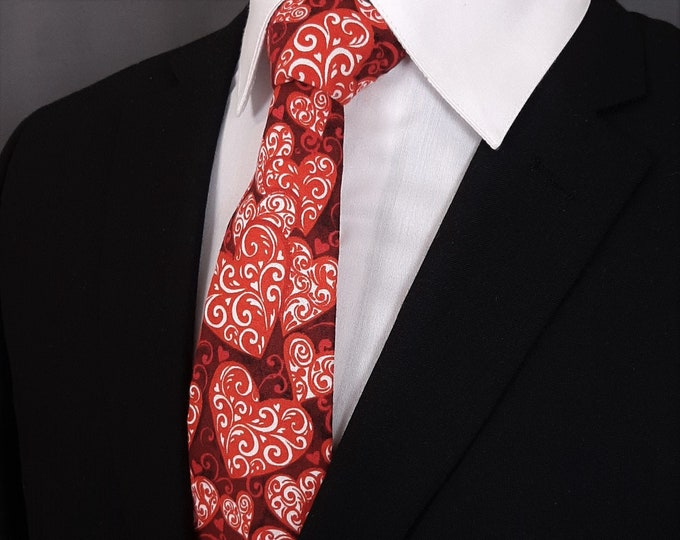 Valentines Day Gift – Mens Burgundy with Hearts Valentines Day Necktie. Alos Available as a Skinny Tie.