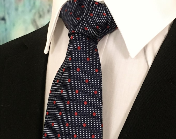 Navy Red Tie – Mens Navy with Red Dots Necktie