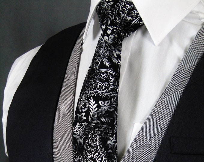 Black Paisley Tie – Stylish Mens tie for White and Black Wedding, Available in Stadard or Skinny Tie, Nice Father of the Bride Gift