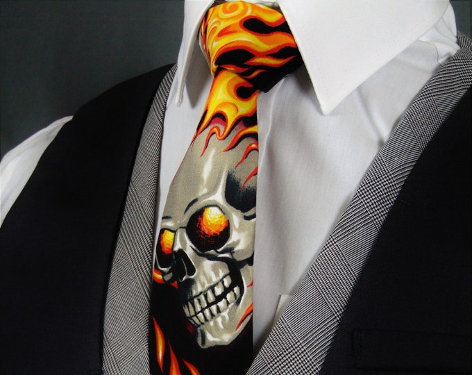 Flame Skull NeckTie – Gothic Skull Tie with Orange Flame Motif