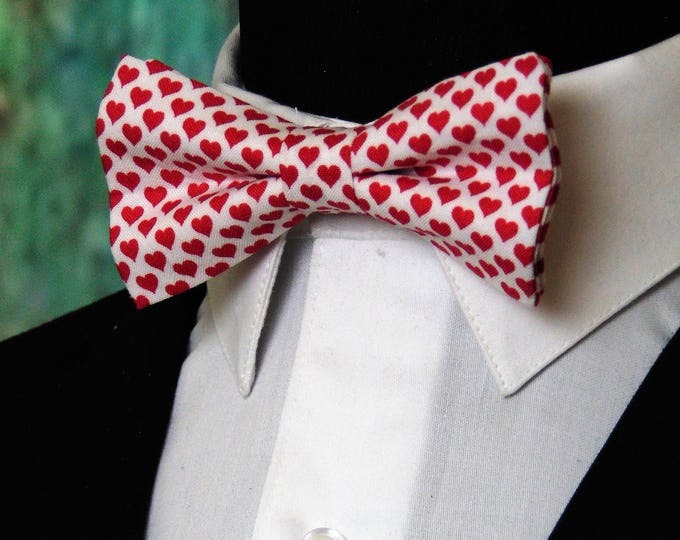 Valentines Bowties – Red Heats Valentines Day Bow Tie for Men or Boys, Also Available Extra Long.