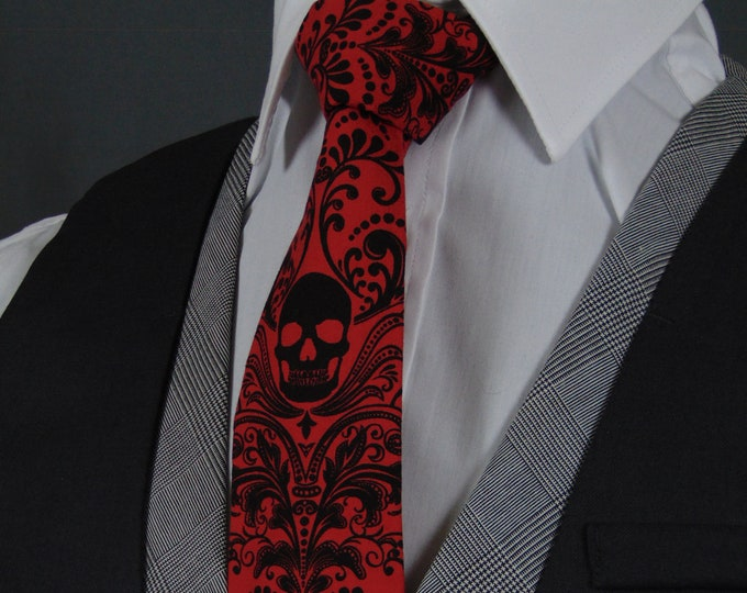 Red Skull Tie, Skull Neckties, Fathers Day Gift