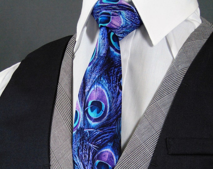 Peacock Neck Tie – Purple Peacock Feathers Tie
