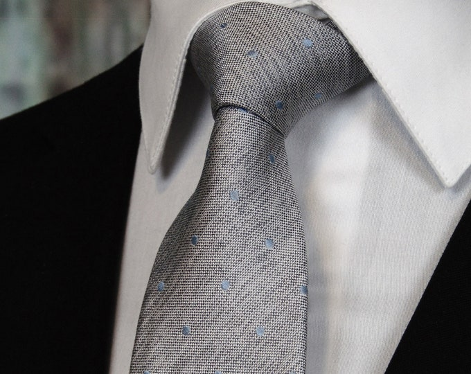 Silver Tie – Mens Silver with Light Blue Dots Silk Necktie