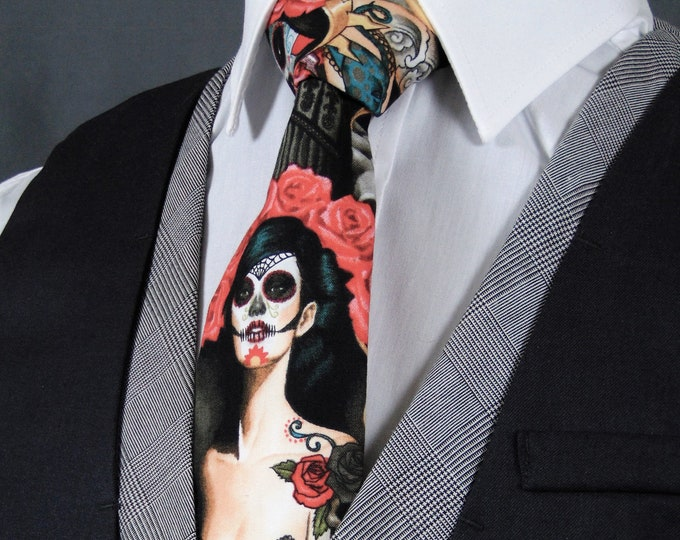 Dia de los Muertos – Mens Sugar Skull Inspired Tie, Also Available as a Extra Long Tie.