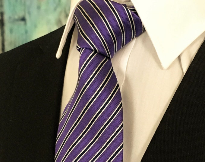 Purple Stripe Necktie – Silk Necktie with Purple Stripes