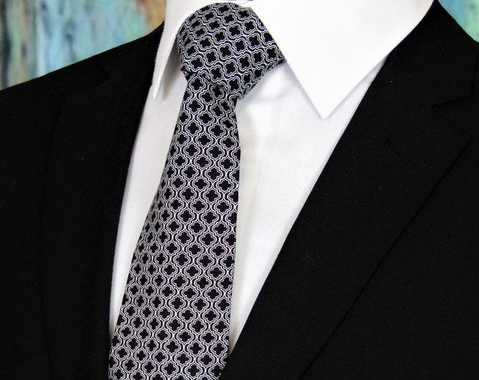 Ties for Father of the Bride – Black and White Wedding Tie.