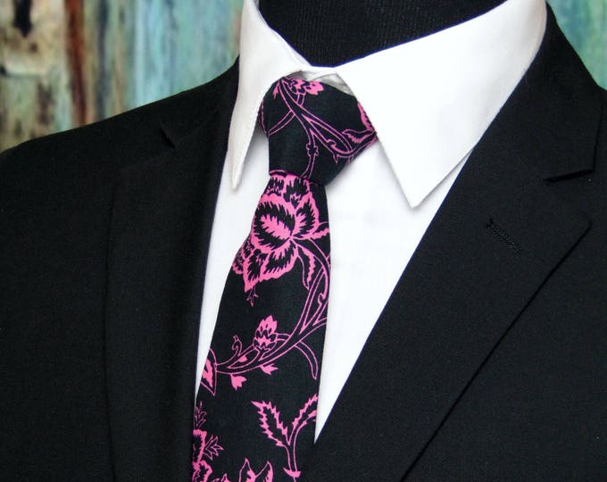 Floral Necktie, Floral Tie, Mens Necktie, Mens Tie, Black, Pink, Fathers Day, Birthday Gift, Wedding, Bride, Father of Bride, Dad, Groom