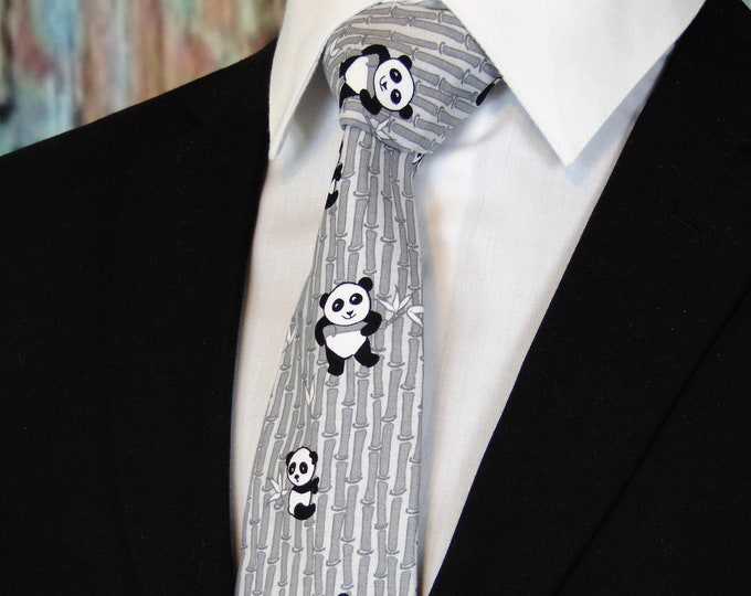 Panda Gifts – Panda Necktie with Black and White Small and Large Pandas.