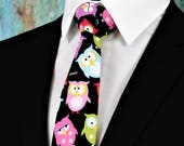 Owl Tie – Colorful Mens Owl Necktie, Also Available Extra Long and as a Skinny Tie.