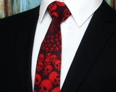 Red Skull Tie – Mens Halloween Necktie – Unique Black with Red Skulls Cotton Neck Tie.