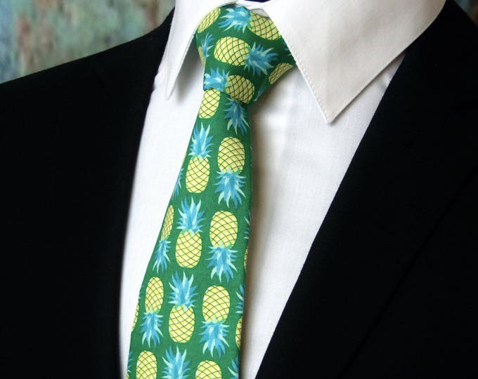 Tie Green – Pineapple Necktie, Unique Mens Neck Tie Great for Hawaiian Theme Wedding Tie, Alos Available as a Skinny Tie