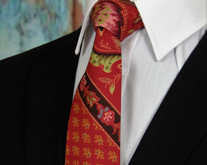 Red Floral Ties – Men Red floral Necktie