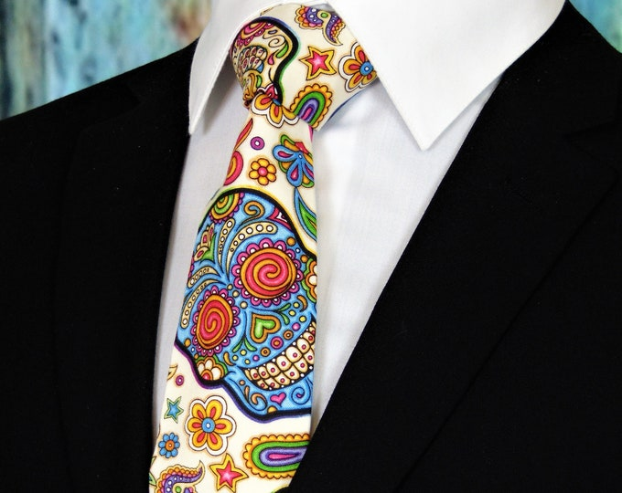 Ties with Skulls – Mens Colorful Candy Skull Necktie,