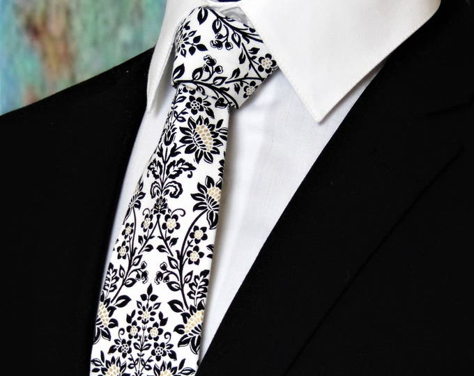 Floral Wedding Tie – White and Black Floral Necktie, Alos Available as a Skinny Tie.