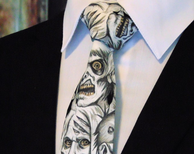 Zombie Tie – Zombie Featured Necktie for Halloween Also Available as a Extra Long Neck Tie.