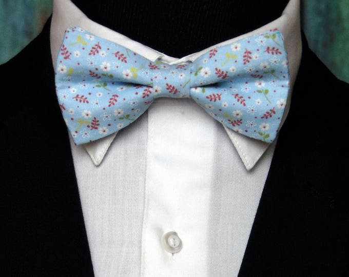 Light Blue Bow Tie – Mens or Boys Floral Light Blue Bow Tie, Great for Weddings, Proms or Everyday Use.