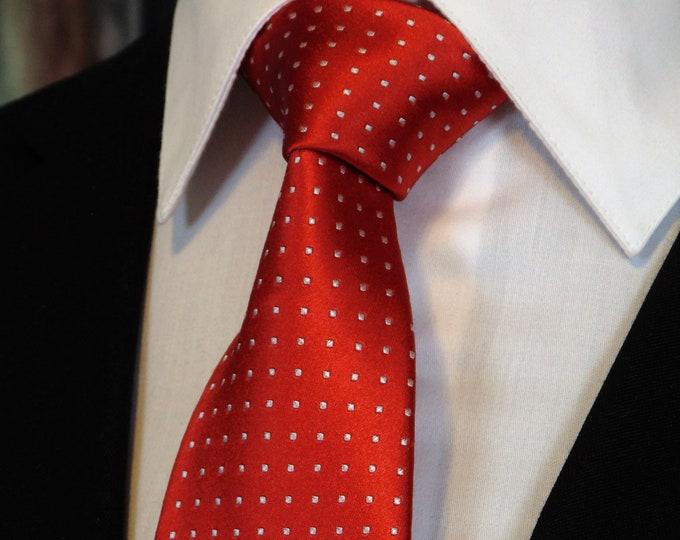 Wedding Tie for Dad – Mens Wedding Necktie Red and White