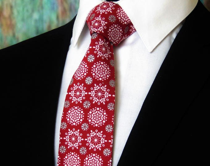 Snowflake Neck Tie – Mens Burgundy Christmas Tie. Available as a Skinny Tie.
