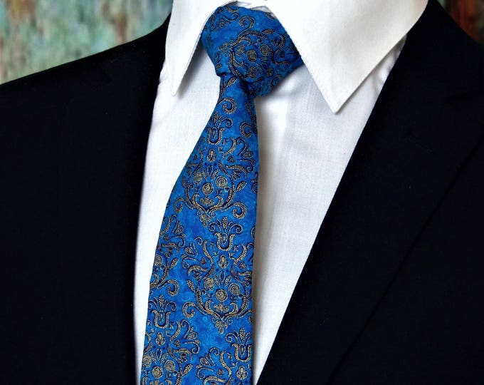 Mens Ties – Classic Mens Blue and Gold Necktie. Great for Wedding and available as a Skinny Tie.