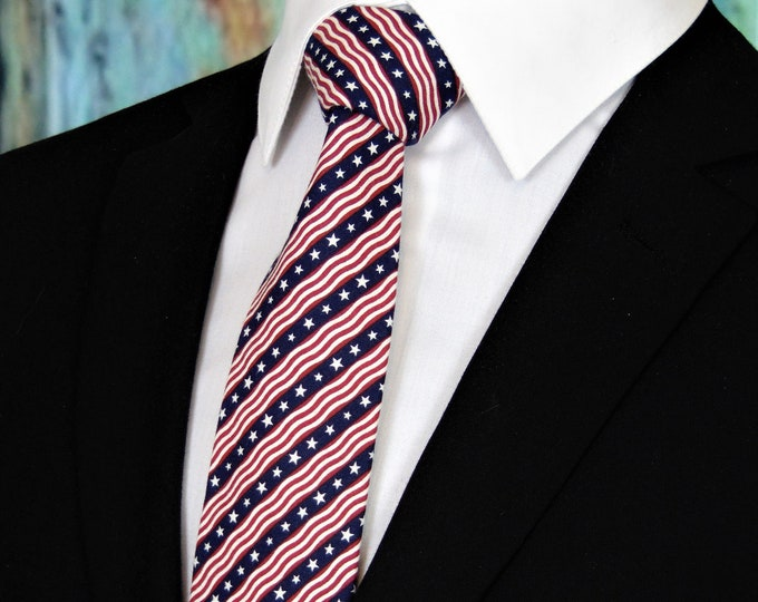 Ties for the 4th of July – Mens Red White and Blue Stripe Independence Day Necktie