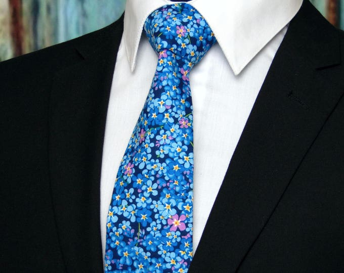 Blue Floral Necktie – Colorful and sheerful Floral Necktie for Wedding, Everyday and Available as a Skinny Tie