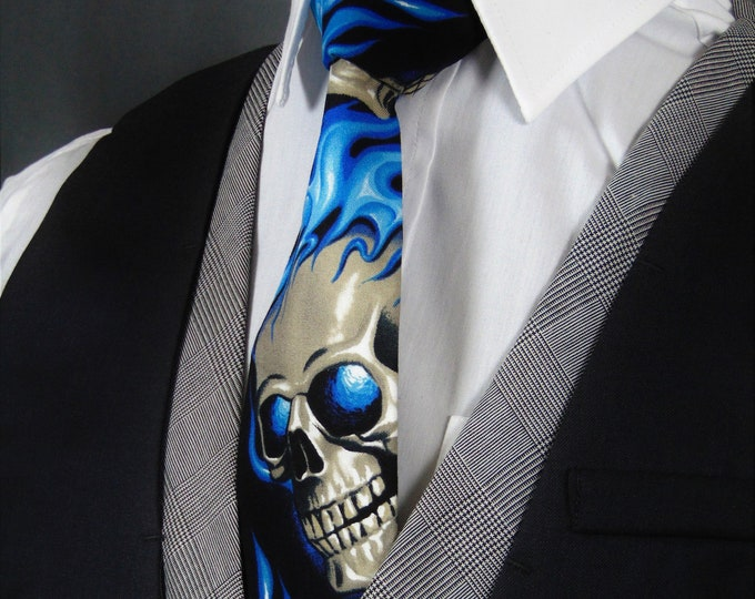 Blue Flame Skull Neck Tie – Gothic Skull Tie with Blue Flame Motif