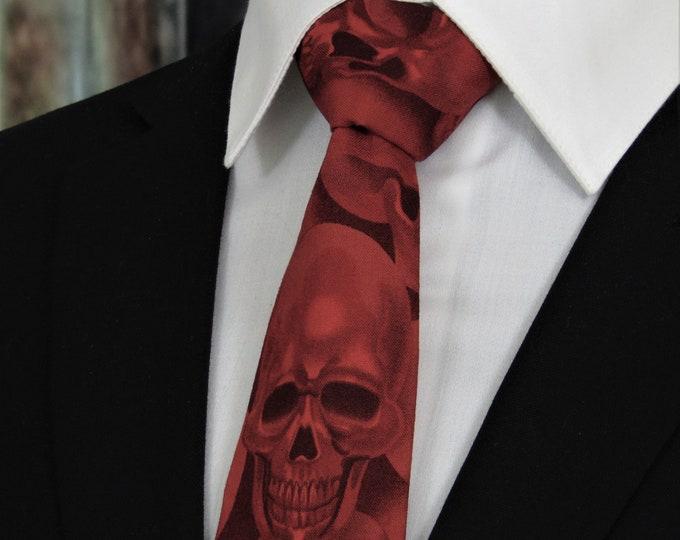 Red Skull Tie – Necktie with Red Sulls