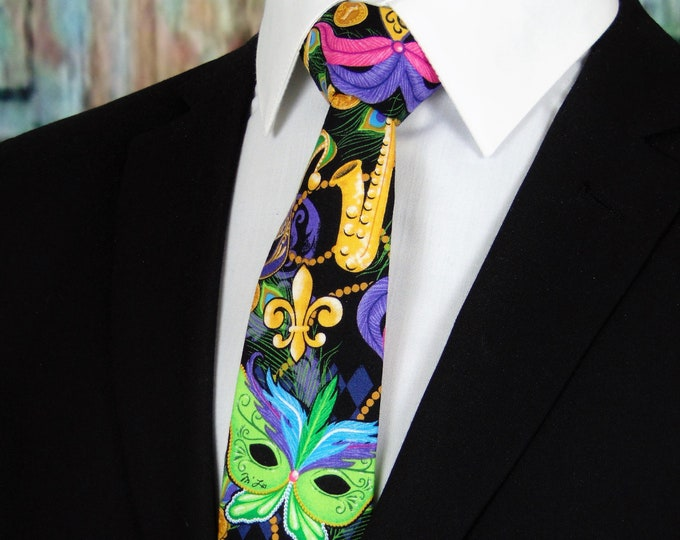 Mardi Gras Tie – Mens Colorful Necktie for Mardi Gras