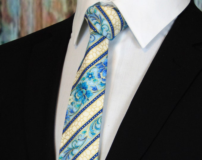 Floral Tie for Men – Mens Floral Stripe Necktie.